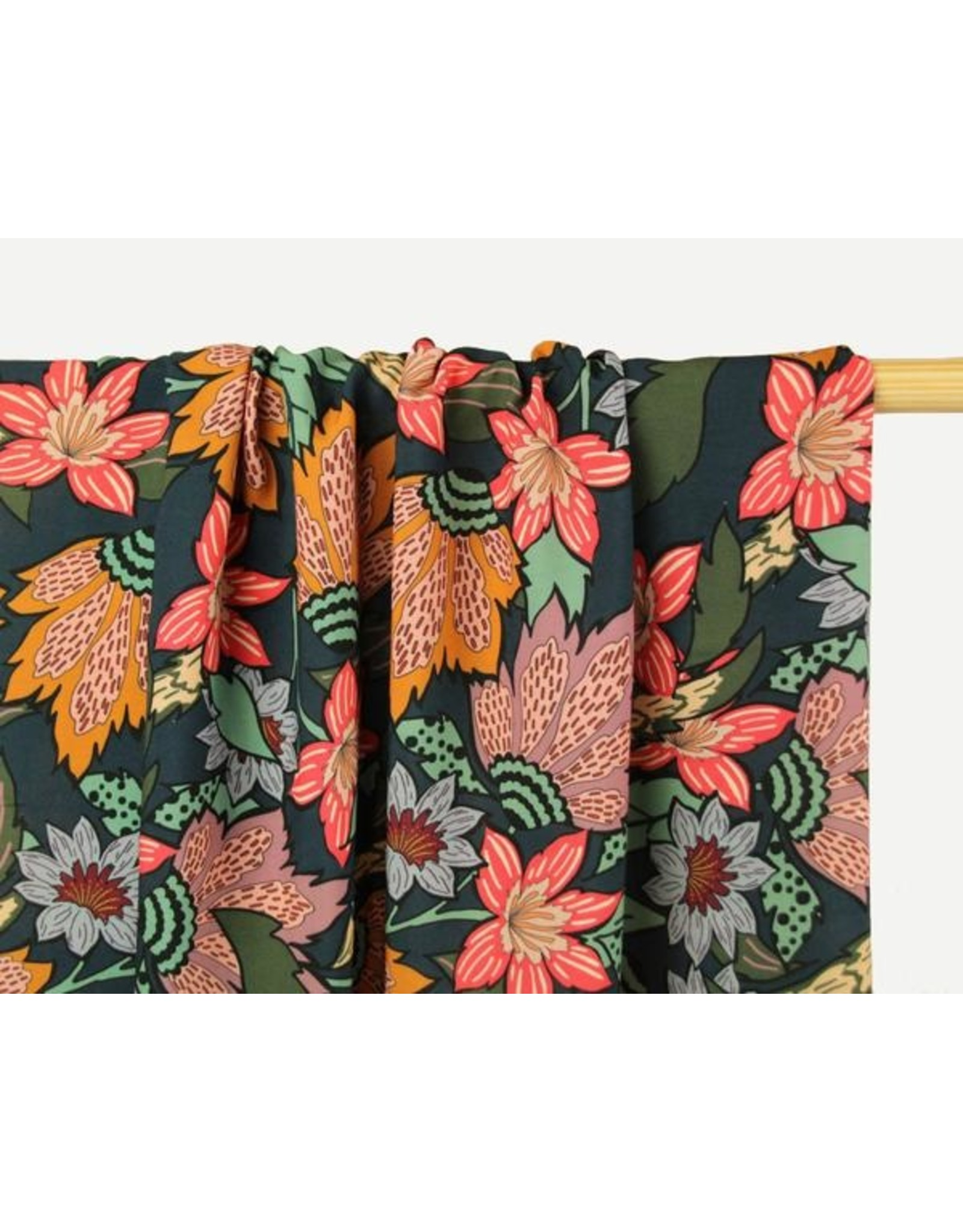 Atelier Jupe Viscose with large flower print COUPON 6cm