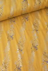 Rico Design Double gauze geel met gouden en blauwe stipjes COUPON 1.60m