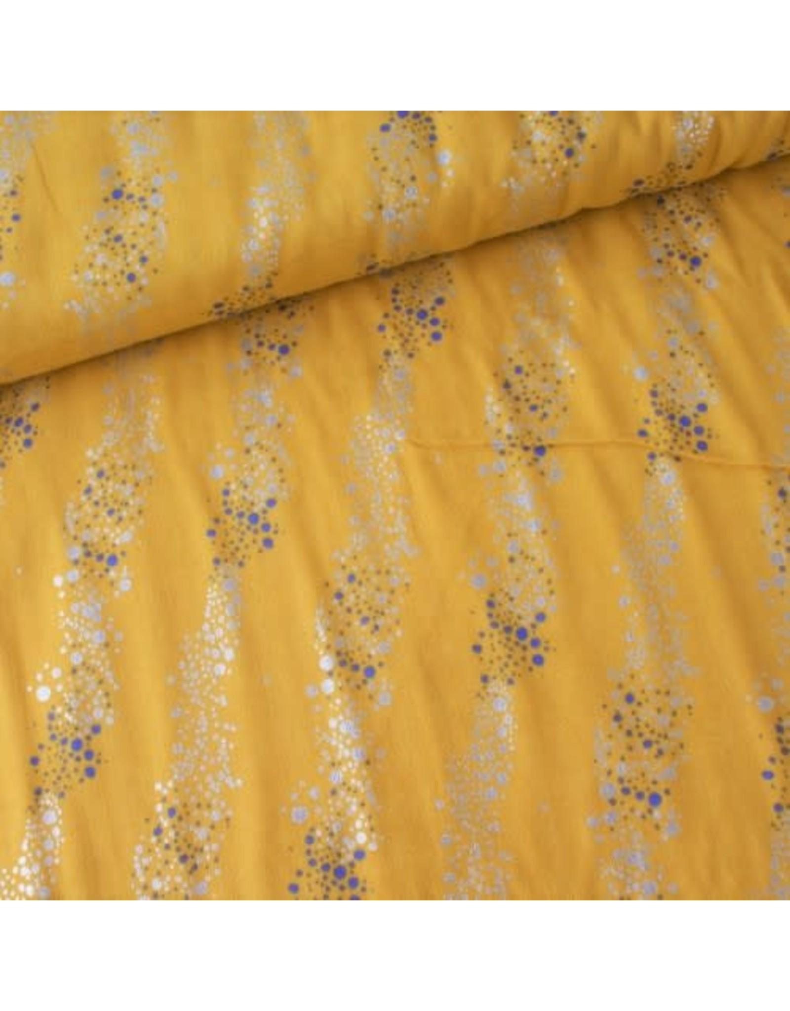 Rico Design Double gauze geel met gouden en blauwe stipjes