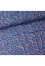 Rico Design Double gauze licht blauw met roze en gouden golven