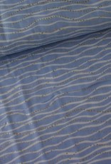 Rico Design Double gauze licht blauw met wit en gouden golven