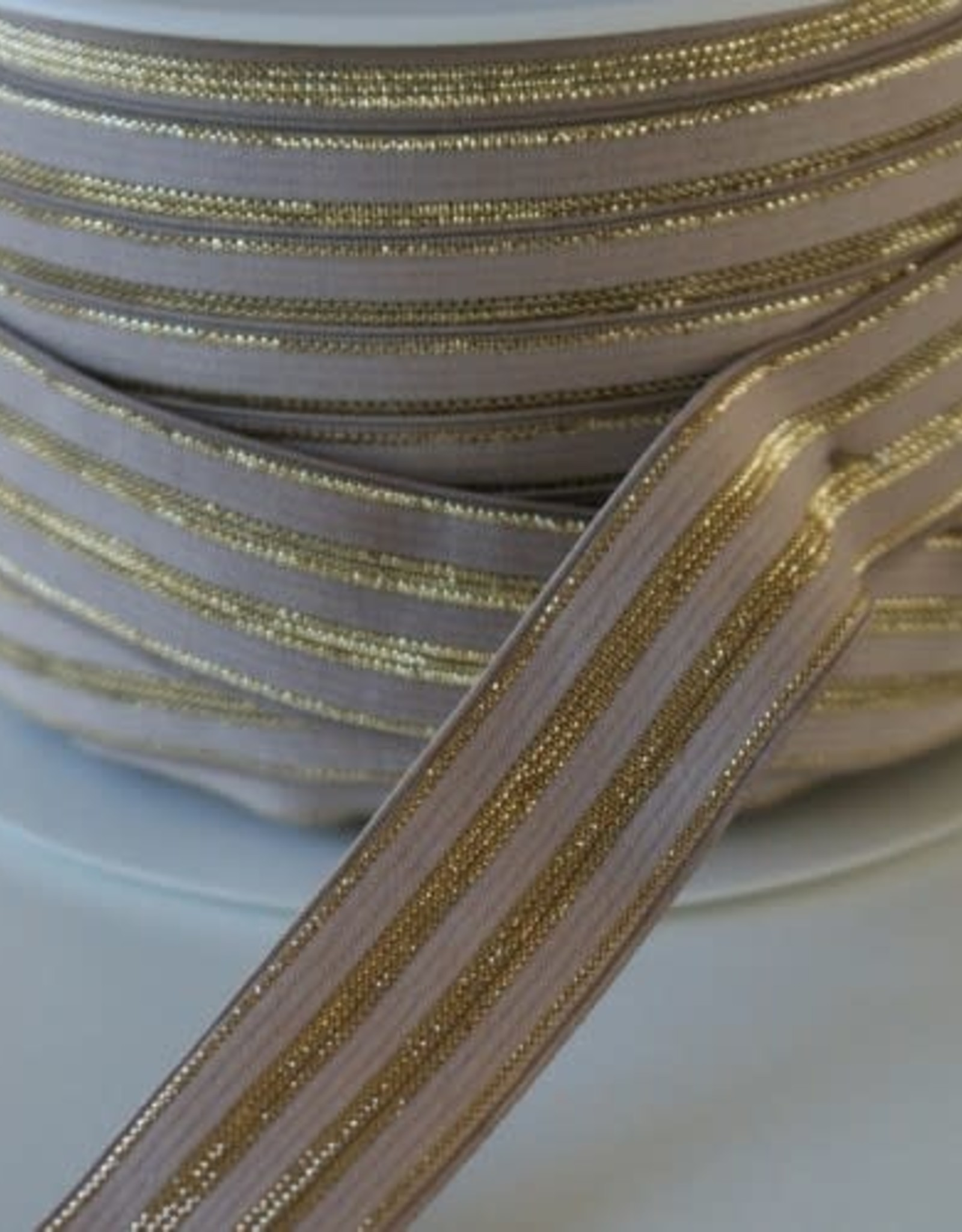 Restyle Elastiek taupe/goud 20 mm