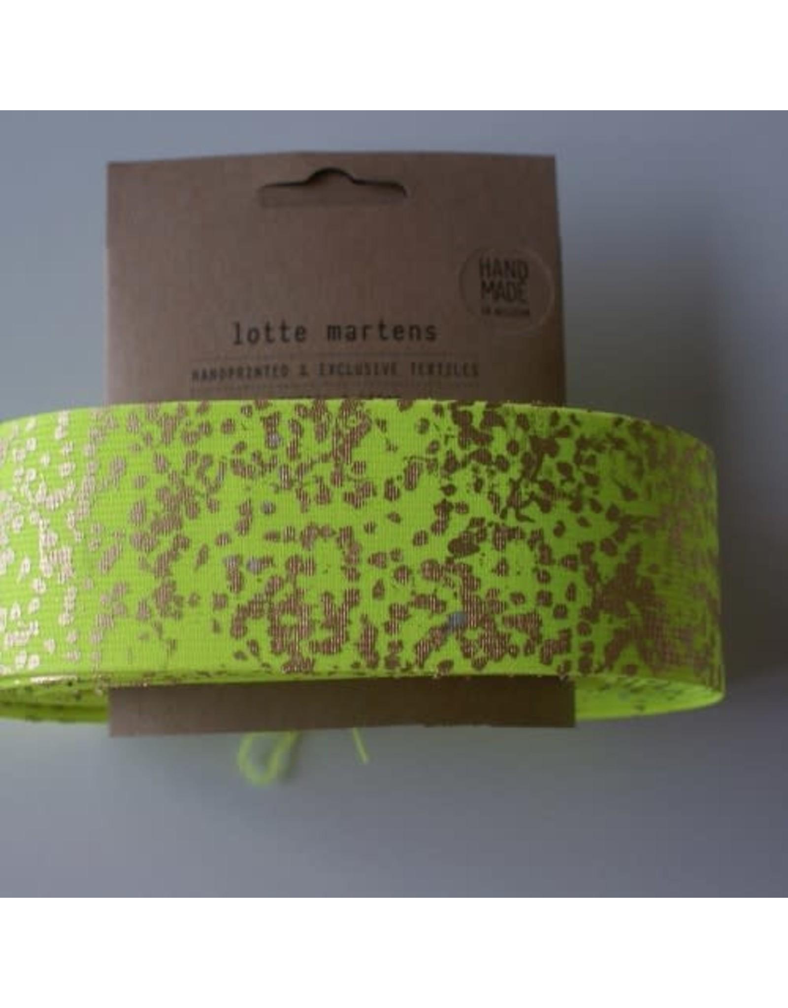 Lotte Martens Hand bedrukte elastiek fluo geel