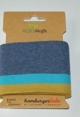 Alb stoffe Jeans met turkoois en oker streep