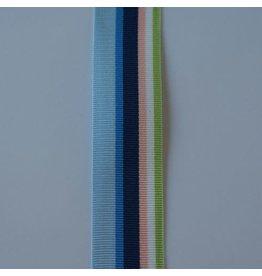 Rico Design Ripsband multicolor blauw, roze, wit en groen 25 mm