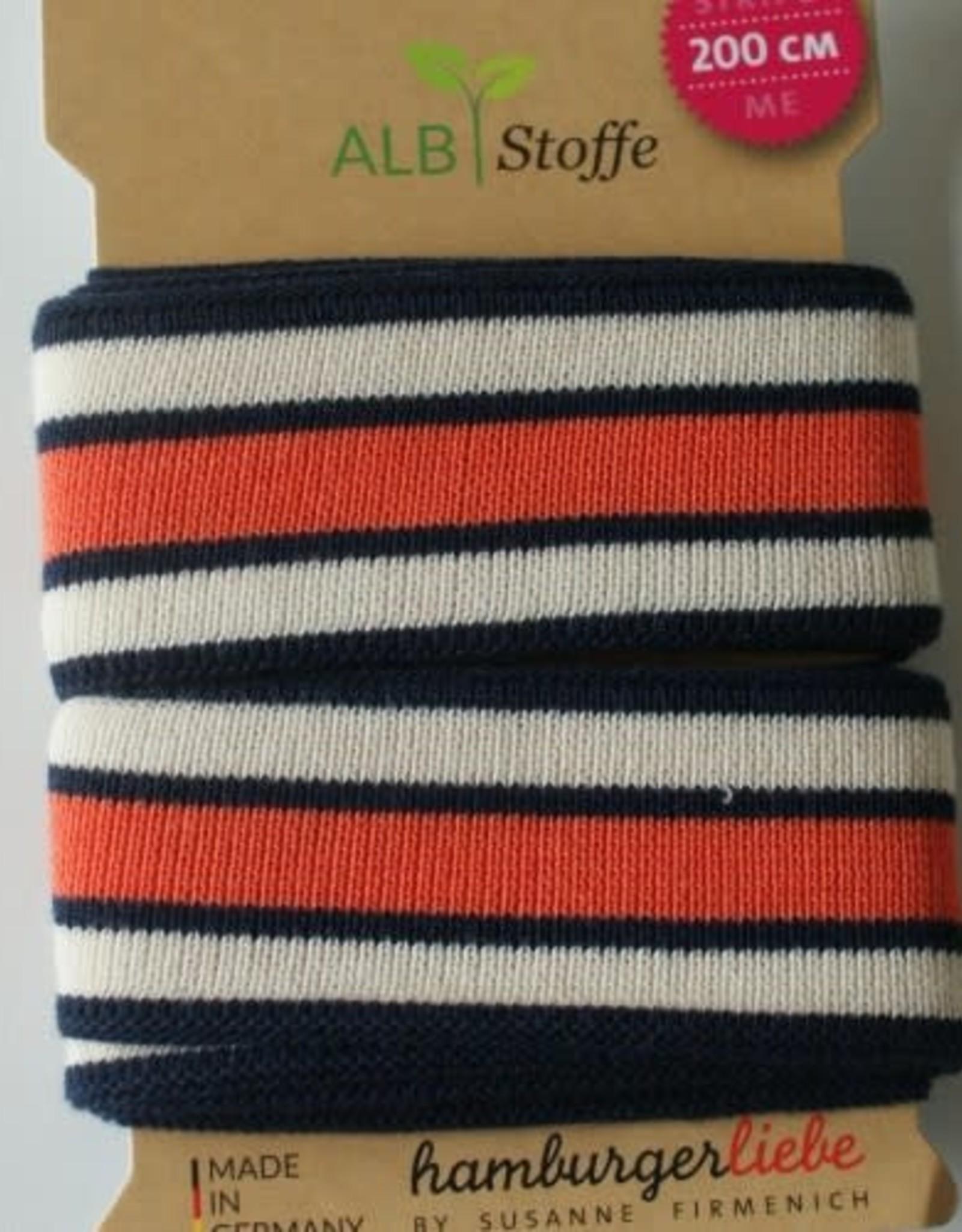 Alb stoffe Stripe me donkerblauw ecru oranje