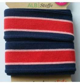 Alb stoffe Stripe me donkerblauw roze rood