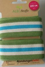 Alb stoffe Stripe me groen ecru turkoois