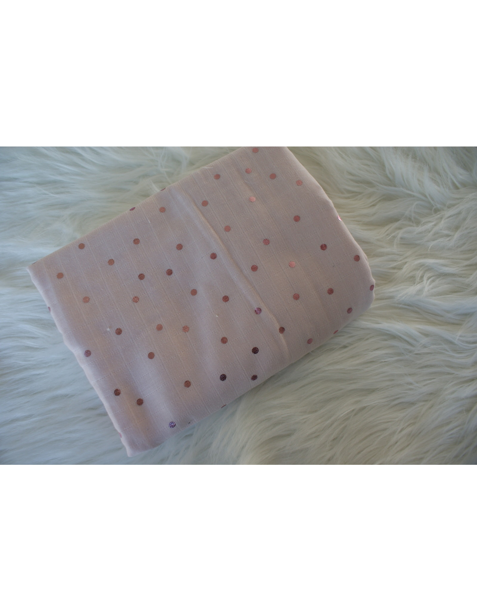 Domotex Double gauze roze hotfoil dots COUPON 1.60m