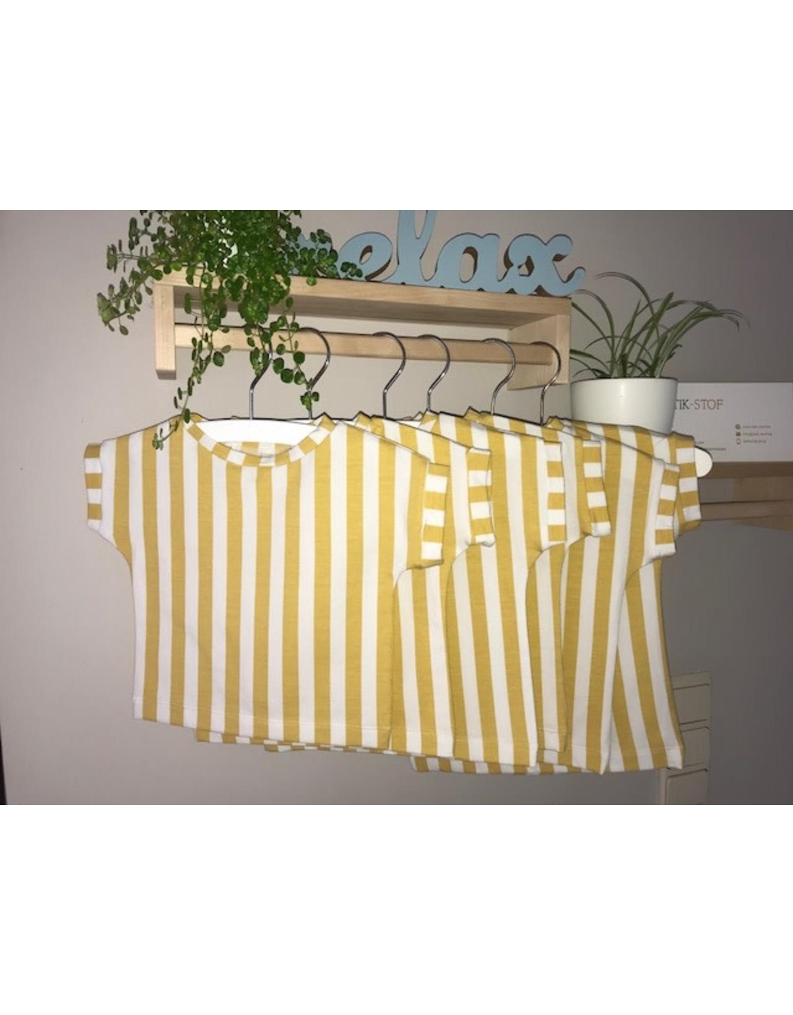 Stik-Stof T shirt streep ecru/oker