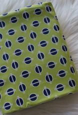 Stik-Stof Groen met blauwe cirkels COUPON 1m