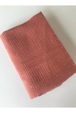 Domotex Double gauze oud roze met gouden stippen COUPON 80 cm