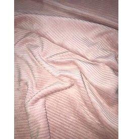 Stik-Stof Brede ribfluweel oud roze jersey