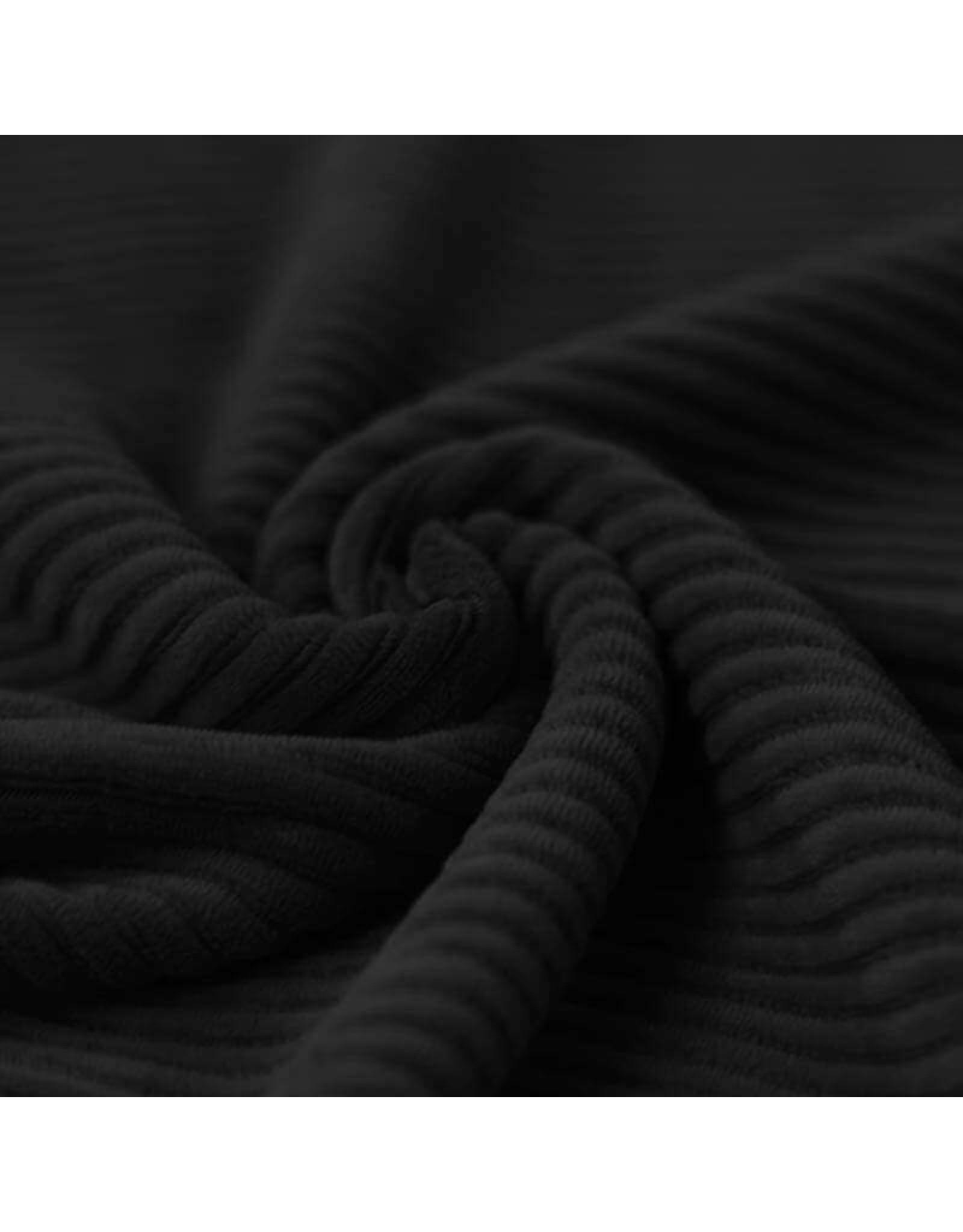 Stik-Stof Brede rib jersey zwart