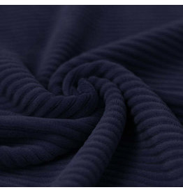 Stik-Stof Brede rib jersey navy blauw