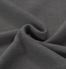 Stik-Stof Ottoman rib jersey donker grijs melange COUPON 90 cm