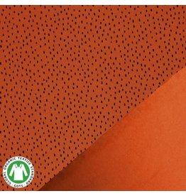Organic french terry stippen burnt orange