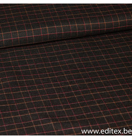 Editex Ruitjes grijs/oranje/wit