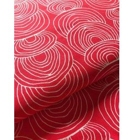 Stik-Stof Canvas rood met ecru print