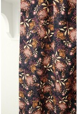 Atelier Jupe Navy blue viscose with orange and pink flowers