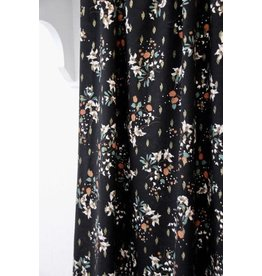 Atelier Jupe Black lurex viscose with soft flower print
