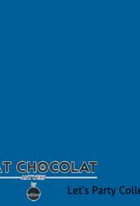 Chat Chocolat Uni viscose let's party blue COUPON 1 meter