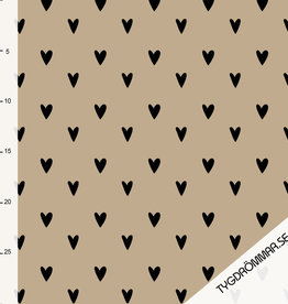 Tygdrömmar Hearts light taupe