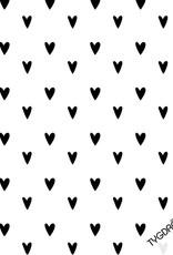 Tygdrömmar Hearts white