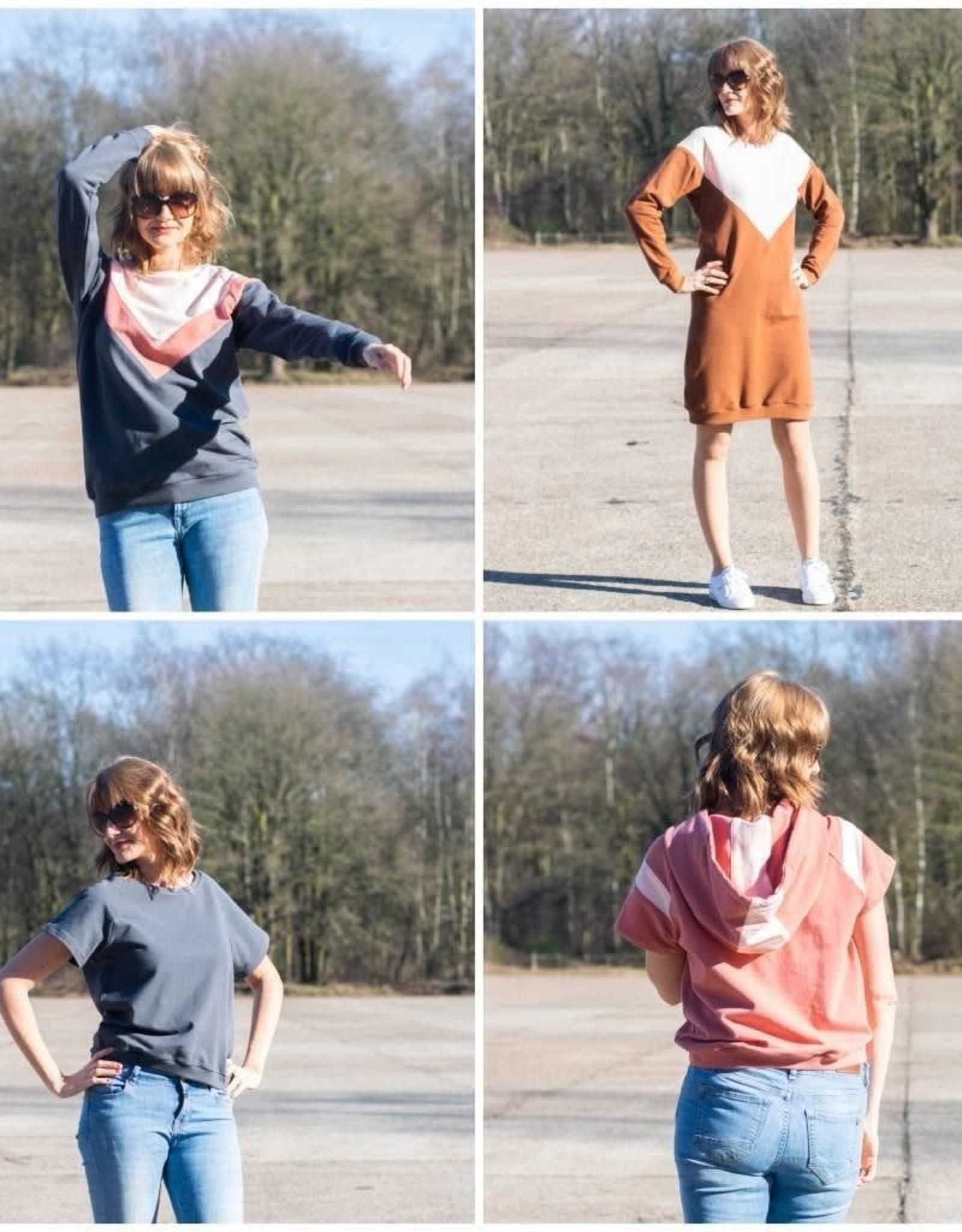 Bel' Etoile Isa sweater, sweaterjurk en top voor dames en tieners naaipatroon