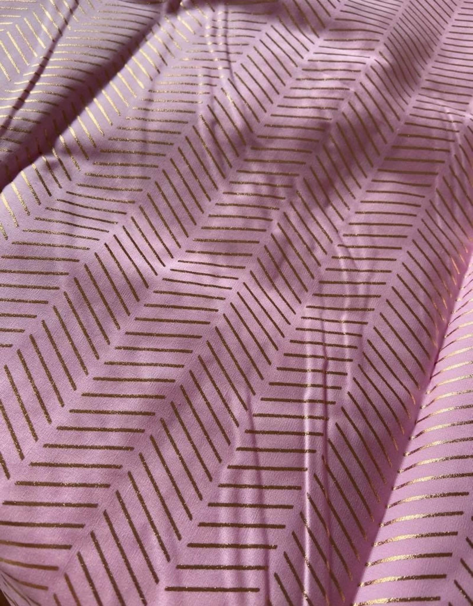 Roze met visgraat motief hotfoil katoen COUPON 1m