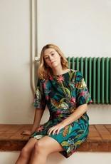 Atelier Jupe Turquoise viscose met tropische print COUPON 1.10m