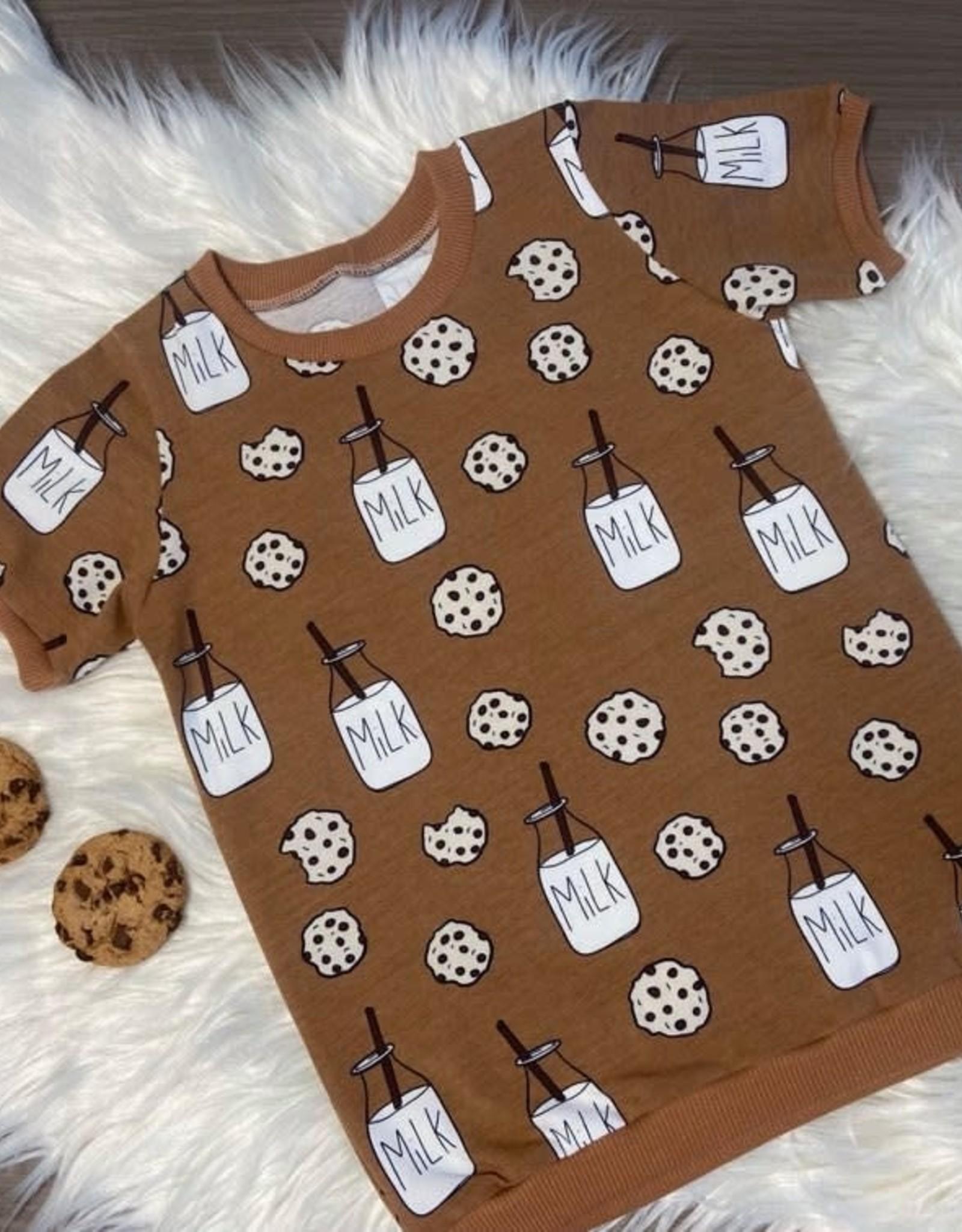 Stik-Stof T-shirt met boordjes Milk & Cookies bruin 62