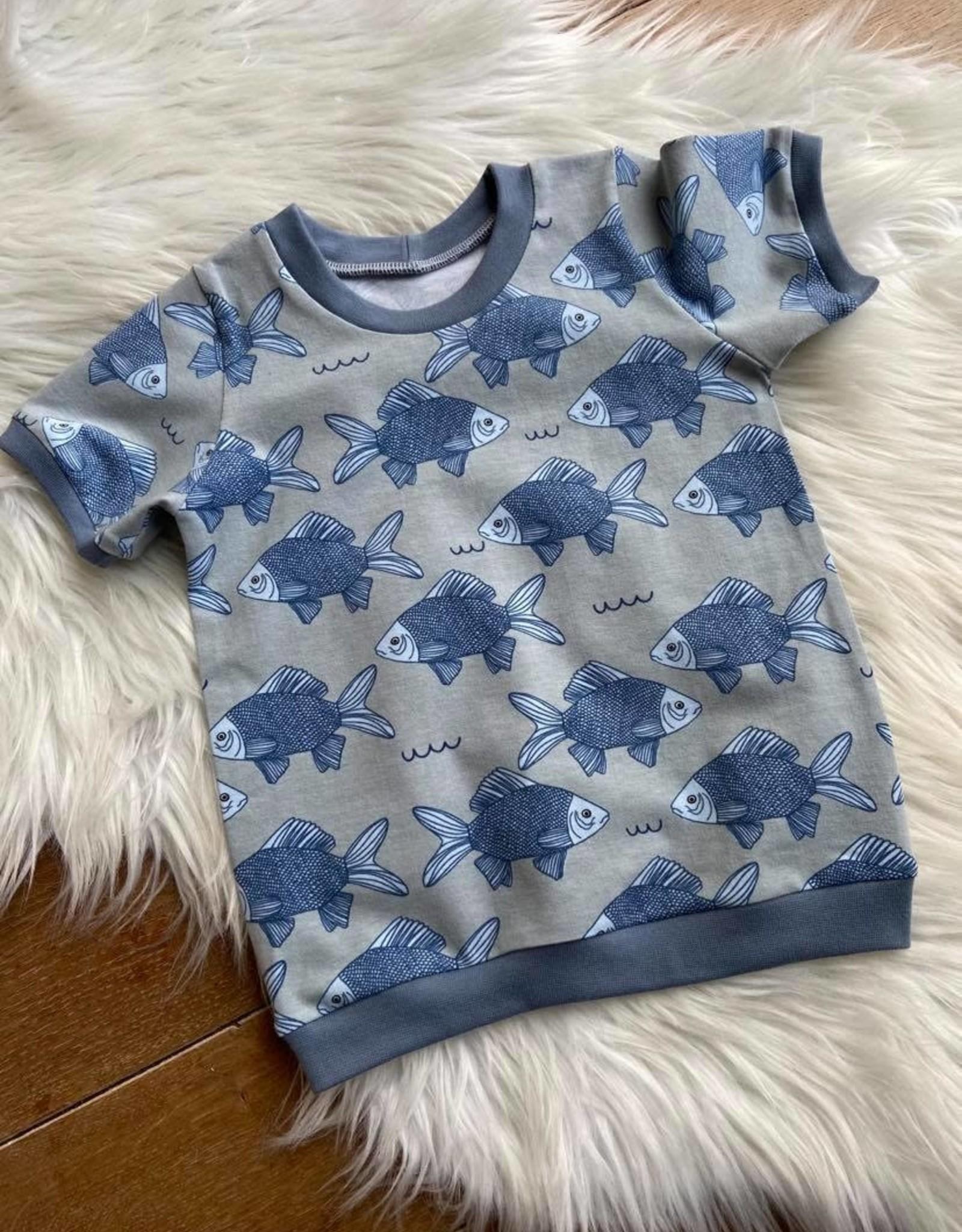 Stik-Stof T-shirt met boordjes Vissen 62
