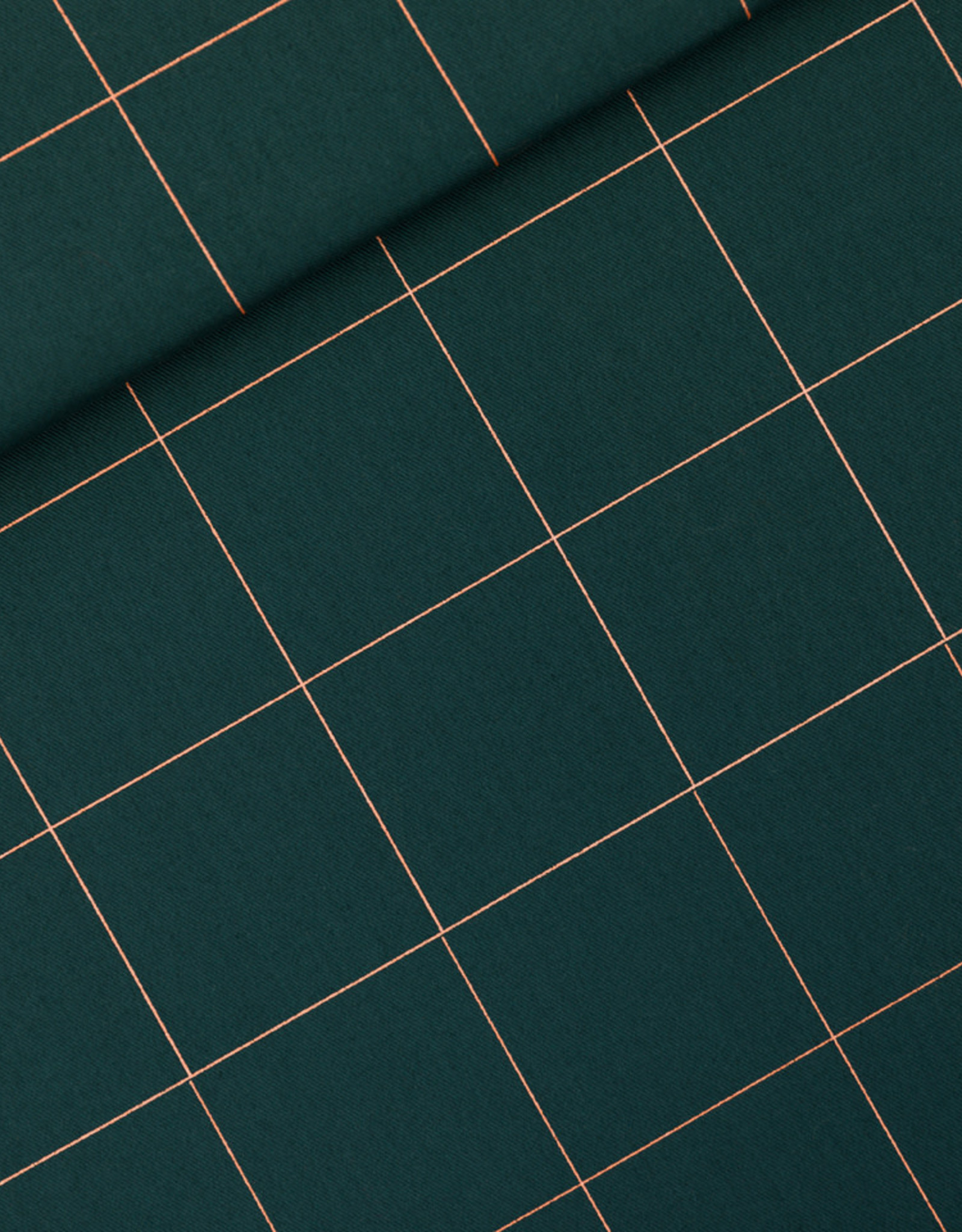 See You At Six Thin Grid XL - cotton canvas gabardine twill  -green gables