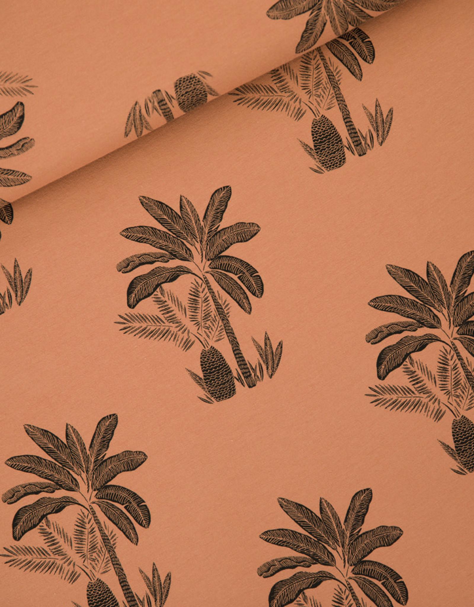 Stik-Stof Jurk korte mouw palm trees