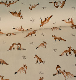 Family fabrics Fox Grey Leaves Jersey