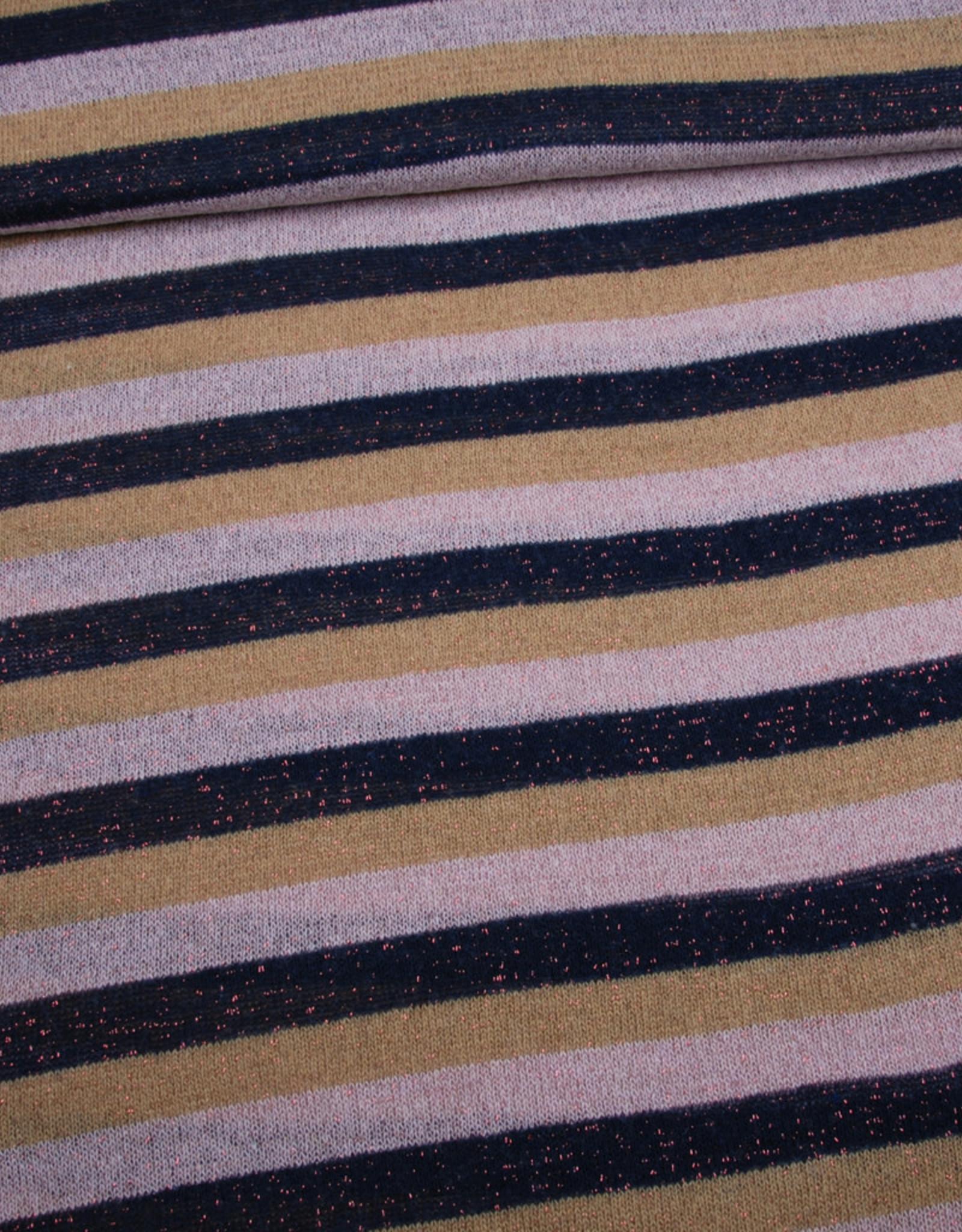 Editex Lurex stripes roze/beige/zwart