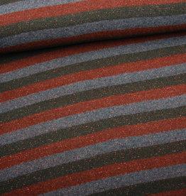 Editex Lurex stripes rood/groen/grijs