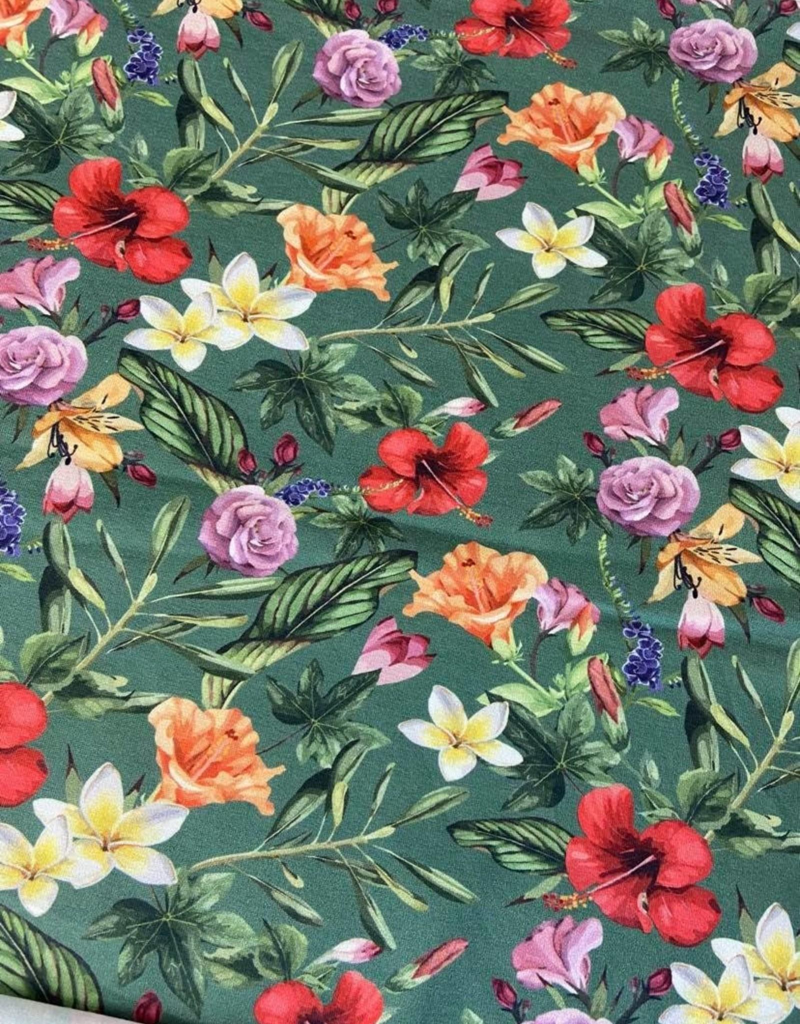 Megan Blue Old green bloem jersey