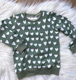Stik-Stof Sweater hartjes groen