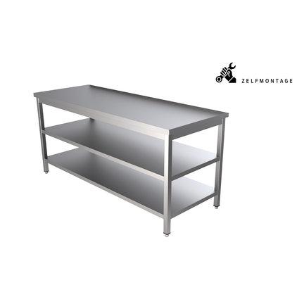 RVS werktafel met dubbel onderblad demontabel