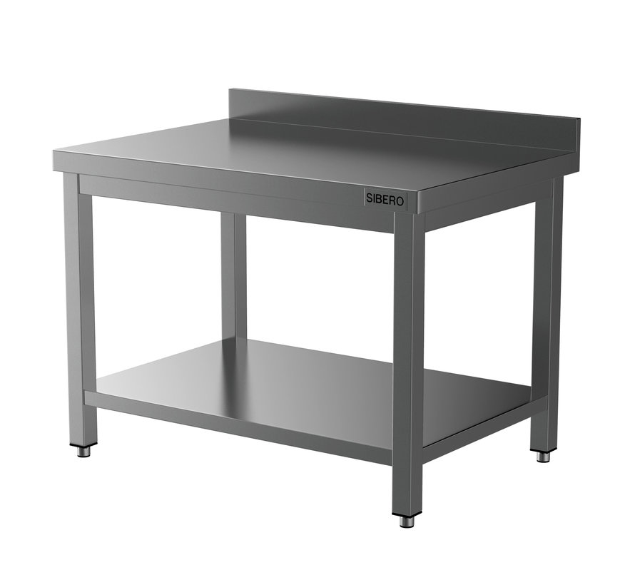 Horeca Werktafel - RVS - Met Onderblad – Met Opstand - Demontabel - 1400x700x850(h)mm - Met Bodemschap