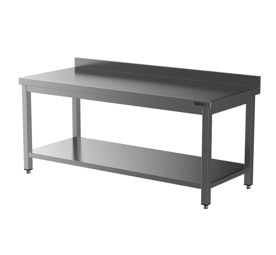 Werktafel - RVS - Met Onderblad + Opstand - Demontabel - B 200 x D 70 x H 85