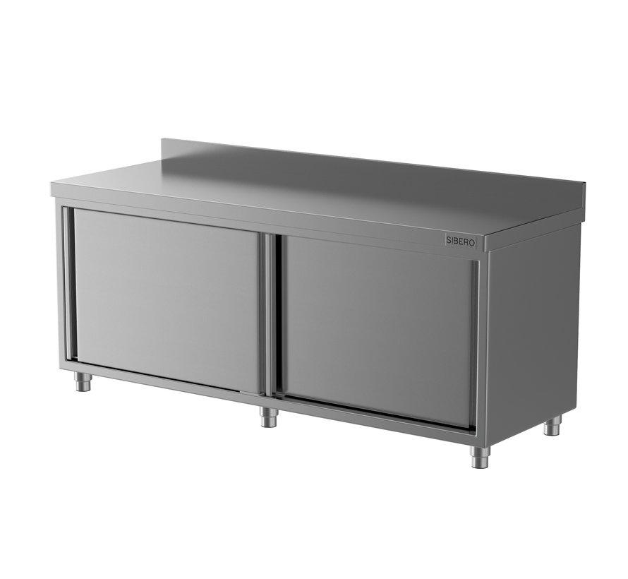 Werktafel - RVS - Met Schuifdeuren + Opstand - B 140 x D 70 x H 85