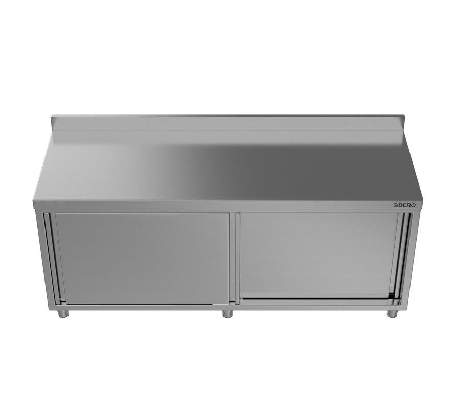 Werktafel - RVS - Met Schuifdeuren + Opstand - B 160 x D 70 x H 85