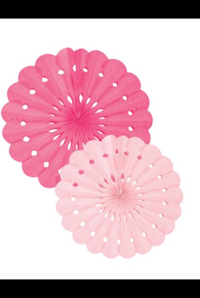 Pink Tissue Paper Fan Set