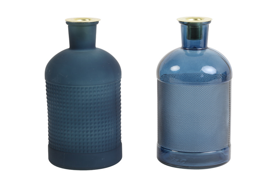 Fles / Kandelaar Elisa Glas Blauw-2