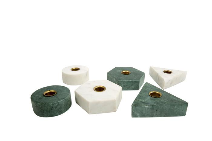 Kandelaar Collin Triangel Marmer Wit-1