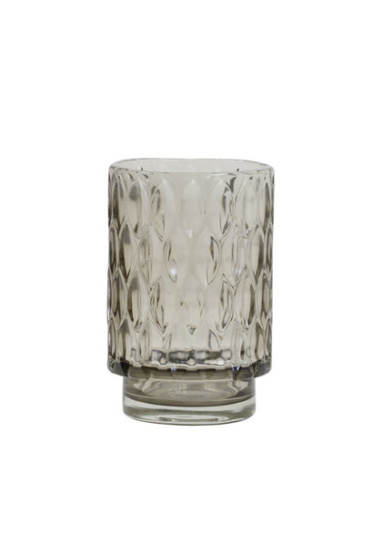 Tea light holder Grace Glass Gray