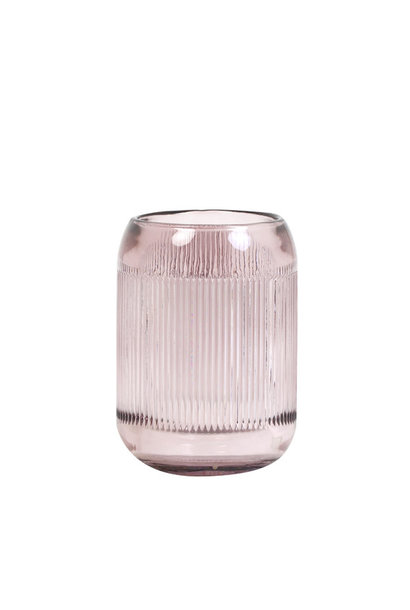 Theelichthouder Pepper Glass Oudroze L